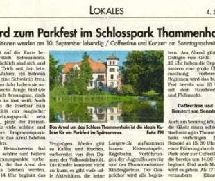 Parkfest im Schloss Thammenhain eröffnet am 10.09.2016
